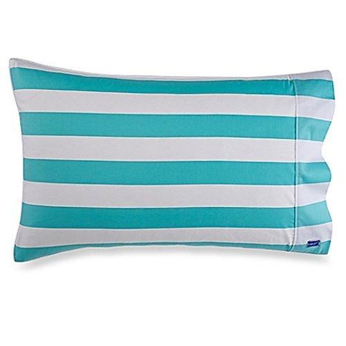 DryZzz, The Pillowcase for Wetheads Two-Sided Towel/Pillowcase, Standard, Aqua Stripe