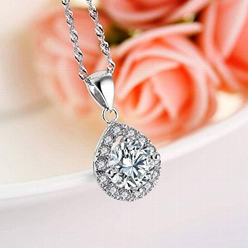 (SHOUSHI Women's Korean Version 925 Silver Drop-Shaped Diamonds S925 Sterling Silver Pendant Women's Fashion Wild Fine Zircon Inlay, 925 Silver)