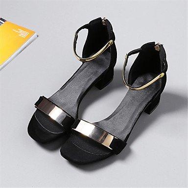 LvYuan Mujer-Tacón Robusto-Confort Zapatos del club-Sandalias-Boda Vestido Informal-Vellón Semicuero-Negro Rojo Beige beige