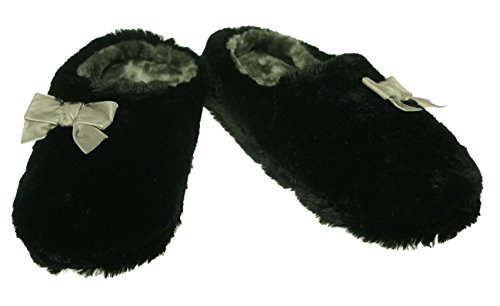 Clog Bow (INC International Concepts Women's Plush Bow Clog Slippers Black X-Large 11-12)