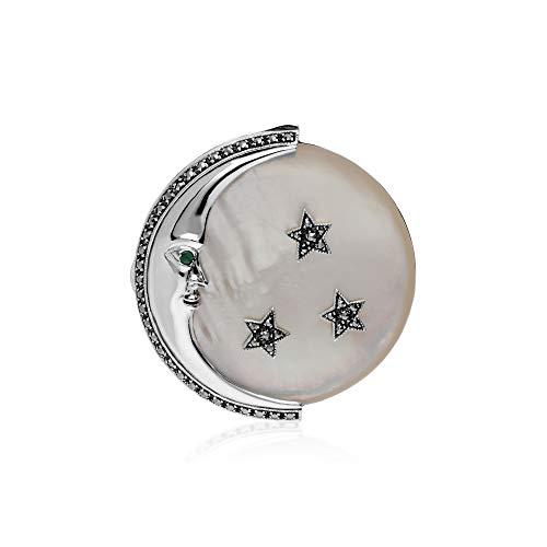 Gemondo 925 Marcasite and Gemstone Moon - Brooch Gemstone Marcasite