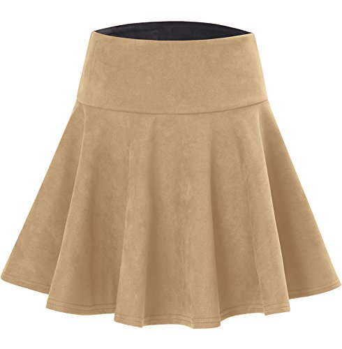 Tan Womens Skirt (Stretchy Short Midi Swing Pleated Sueded Tan Skirt For Women Knee Length M)