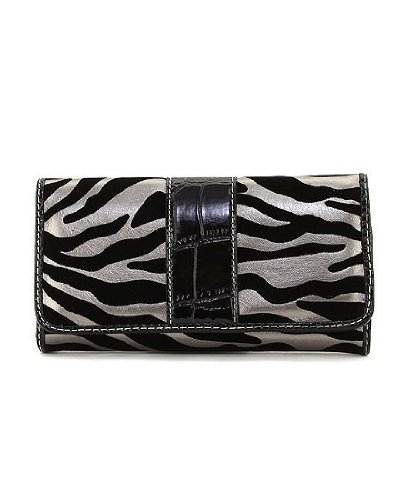 Zebra Pattern Trifold Checkbook Wallet - Choice of Colors (PTBK)