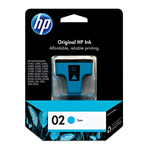 - HP 02 Cyan Ink Cartridge (C8771WN) for HP Photosmart 3210 3310 C5180 D7245 D7255