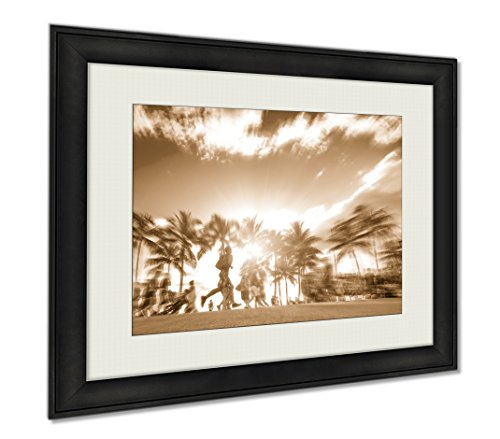 Ashley Framed Prints Man Running Through The Crowd At Sunset On Kalakawa Ave Front, Wall Art Home Decoration, Sepia, 34x40 (frame size), - In Santa Promenade Monica
