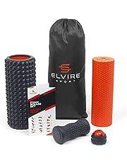 ELVIRE Foam Roller Massageset voor Diep Weefsel - Incl: Schuimrollers, Zachte en Gerichte Massageroller, Massagebal, Voetroller - Verlicht Rugpijn, Been- en Voetmassage - Plantaire Fasciitis en Nek