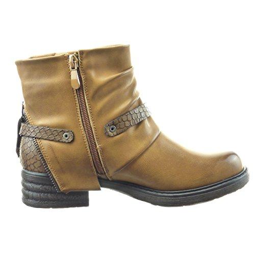 Sopily - damen Mode Schuhe Stiefeletten Biker Schlangenhaut Reißverschluss String Tanga - Camel