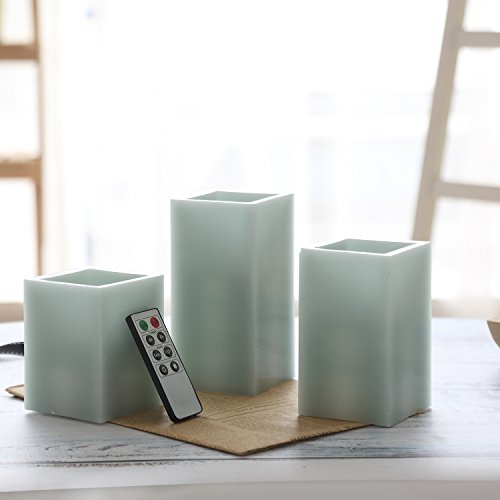 CEDAR HOME Battery Operated Flameless LED Wax Square Pillar Candle with Remote, Set of 3, Antique Teal by CEDAR HOME (Image #5)