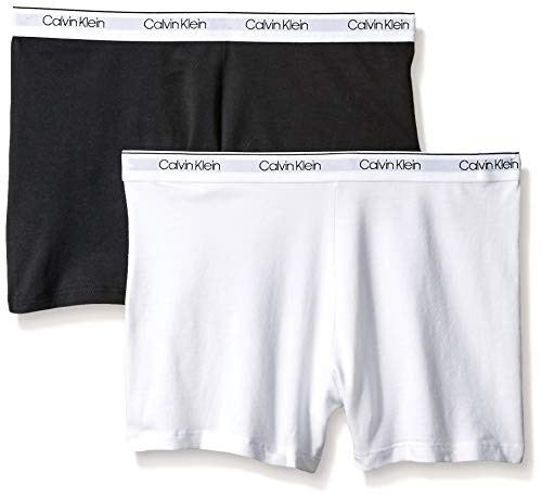 Calvin Klein Big Girls' Playshort (Pack of 2), White, Black, X-Large (14/16) ()