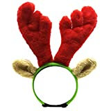 Malier Christmas Holiday Elk Reindeer Antlers with Ears and Red-White-Green Striped Scarf Set, Dog Costumes Accessories, for Dogs Puppies Cats Pet (Large)
