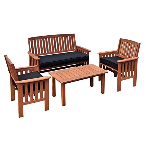 CorLiving PEX-868-Z Miramar 4 Piece Hardwood Outdoor Chair and Coffee Table Set, Cinnamon Brown/Black (Hardwood Set Patio)