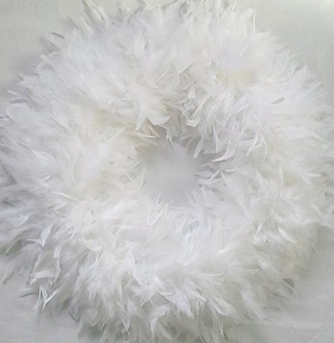 (Fluffy XL White Feather Wreaths...Gorgeous Accent Wreath for Christmas!)