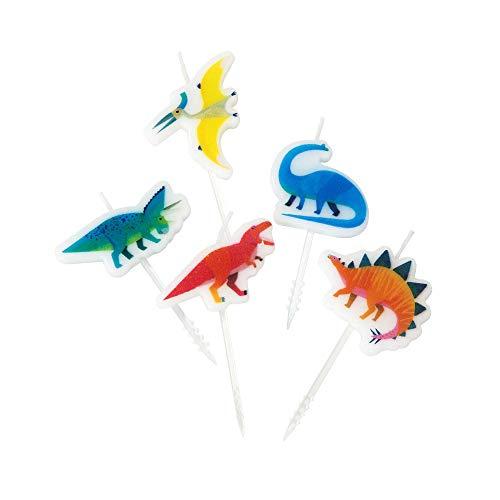 Talking Tables Velas de cumpleaños con Forma de Dinosaurio, Paquete de 5, Cera de Vela