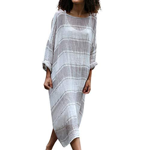MURTIAL Women's Dress, Plus Size Casual Linen Loose Batwing Sleeve Stripe Print Long Maxi Dress(Gray,L)