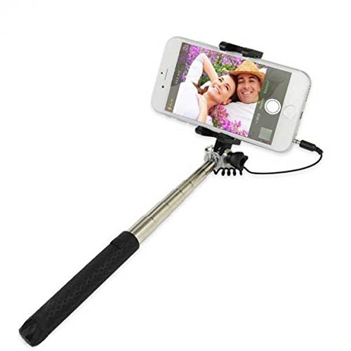 Galaxy J3 Emerge Compatible Ultra Compact WIRED Selfie Stick Monopod Built-in Remote Shutter Self-Portrait Extendable Black for Samsung Galaxy J3 Emerge