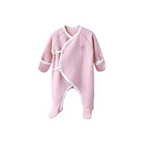 COBROO 100% Cotton Baby Footed Pajamas for Sleep and Play Infant Footies Sleepwear with Mittens Comfy Warm Baby Outfits 0-3 Months Pink