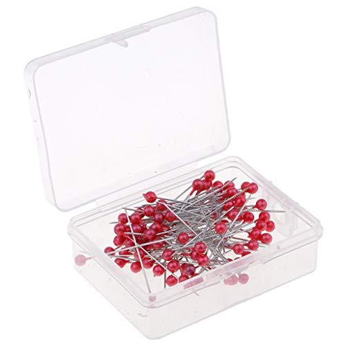 Baosity 100 Pedazos Pin de Acero Inoxidable Pernos de Perlas Alfiler para Mapas/Calendarios / Tablones de Anuncios - Rojo