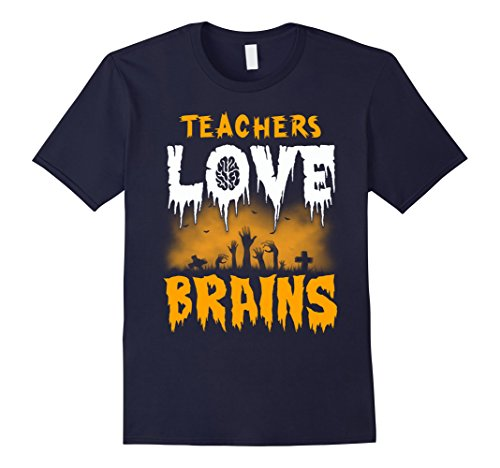 Mens Teachers Love Brains Halloween T-Shirt XL Navy (Best Halloween Costumes For College Guys)