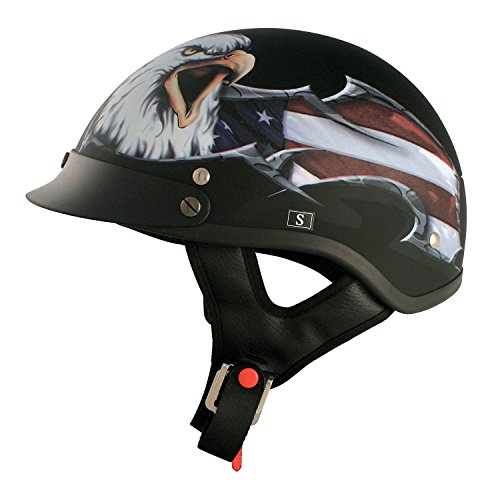 VCAN V5 USA Cruiser Patriotic Eagle Graphics Half Helmet (Flat Black, Small)
