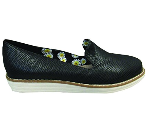 Henry Ferrera Womens Zomer Comfortabele Fashion Instappers Platte Sneakers (7 B (m) Us, Black)