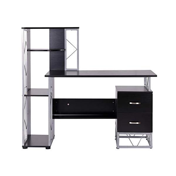 HOMCOM Bureau Informatique Design Industriel 133L x 155l x 123H cm Multi-rangements bibliothèque 3 étagères + 2 tiroirs…