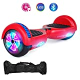 VEVELINE Red Two-Wheel Self Hoverboard Balancing Electric Scooter with Built-in Bluetooth Speaker LED Wheels and LED Side Lights - UL 2272 Certified