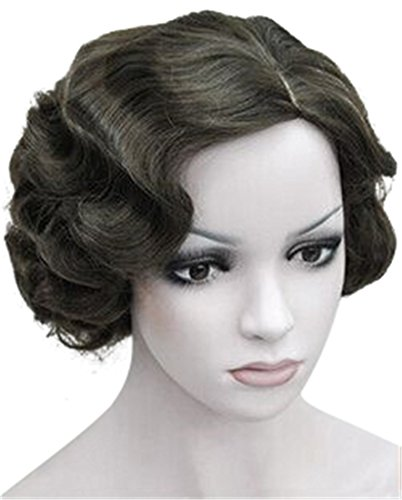 ROLECOS Flapper Wig Short Wavy Marilyn Monroe Costume Wig Christmas Party Cosplay -