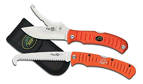 - Outdoor Edge Flip n' Blaze Knife & Saw Combo, Folding Double-Blade Hunting Knife with Gutting Tool and 4.5