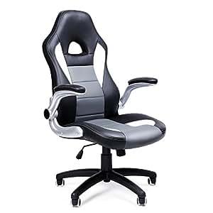 Songmics OBG28G - Silla giratoria de oficina Silla de escritorio Racing Recubrimiento de PU Reposabrazos ajustable, Multicolor (Negro + Gris + Blanco)