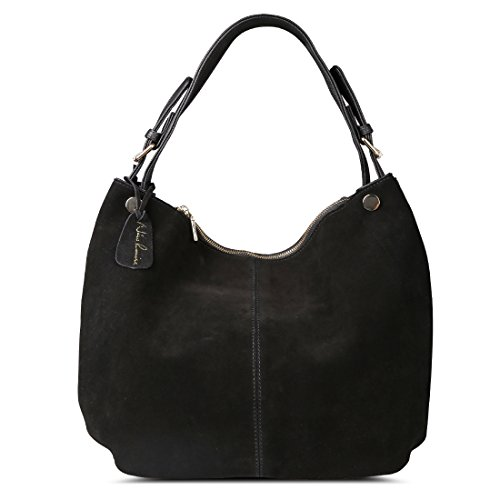 Shoulder Suede Bag Black - Nico Louise Women's Genuine Leather Suede Purse Shoulder Bag Casual Hobo bag(Black)