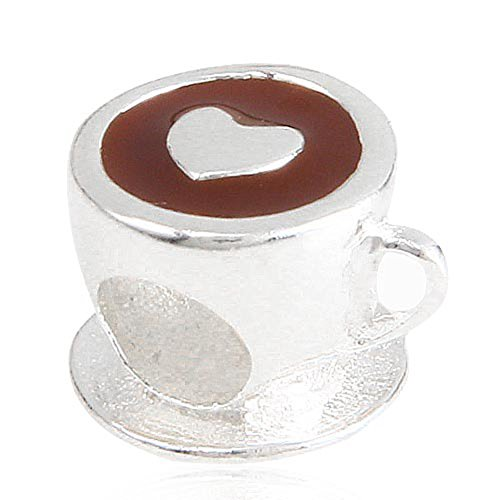 Brown/Heart Coffee Cup Charm with Enamel Genuine 925 Sterling Silver bead Fit European Style Bracelets (Silver Teapot Sterling Charm)