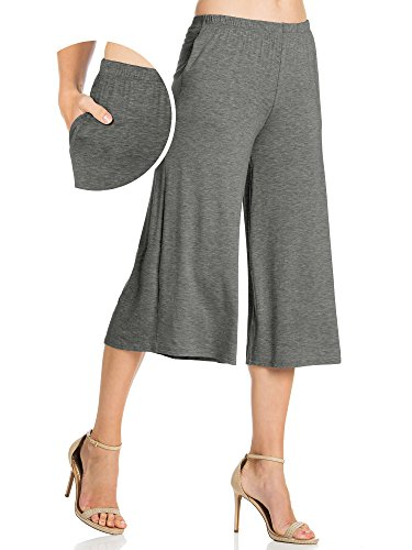 FACA Womens Elastic Waist Jersey Culottes Capri Length Pants with Side Pockets (Small, Charcoal (Womens Culotte)