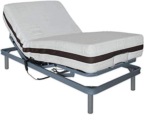Ventadecolchones - Cama Articulada Reforzada Adaptator + Colchón viscoelástico Visco 5 y Mando con Cable Medida 135 x 190 cm