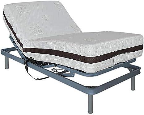 Ventadecolchones - Cama Articulada Reforzada Adaptator + Colchón viscoelástico Visco 5 y Mando con Cable Medida 135 x 180 cm
