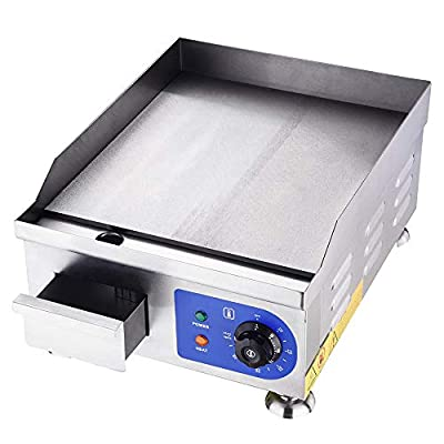 """Yescom 1500W 14"""" Electric Countertop Griddle Stainless steel Adjustable Temp Control Commercial Restaurant Grill"""