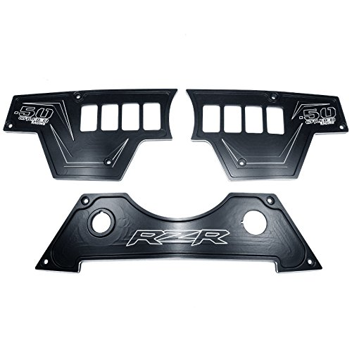 50 Caliber Racing 8 Switch Left, Right and Bottom Center Complete Dash Panel 2 Billet Aluminum Black Powdercoated without Waterproof Illuminated Switch fits RZR XP1000 [5357D15]
