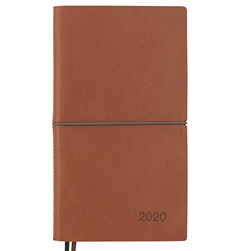 2020 Planner/Pocket Calendar: 14 Months (Nov 2019 - Dec 2020) Weekly, Monthly Calendars, Leather Material, Elastic Closure, Decorative Stitching, Page Finder Ribbons and Notes Pages (Brown/Black) (Pocket Appointment Calendar 2018)