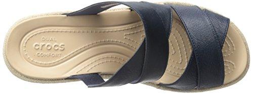 Crocs de las mujeres un Leigh Crisscross W Sandalias de cuña Nautical Navy/Chai