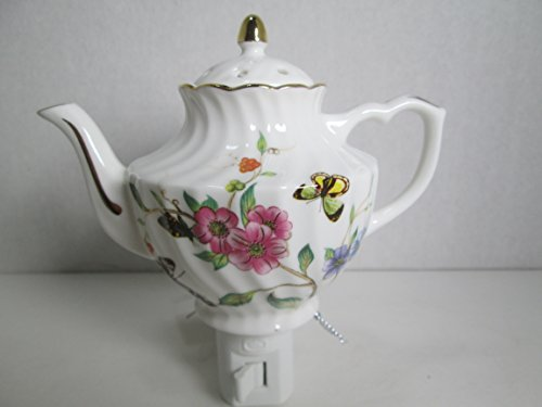 Porcelain Night Light With Flowers and Butterflies Design, (Hall Porcelain Teapot)