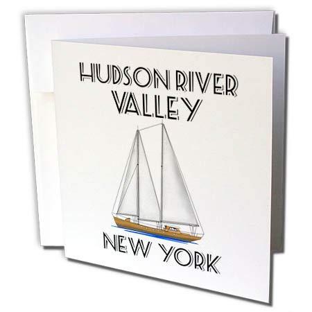 3dRose Macdonald Creative Studios - Nautical - Sailing Hudson River Valley New York Nautical Sailboat Design. - 1 Greeting Card with Envelope (gc_299226_5)