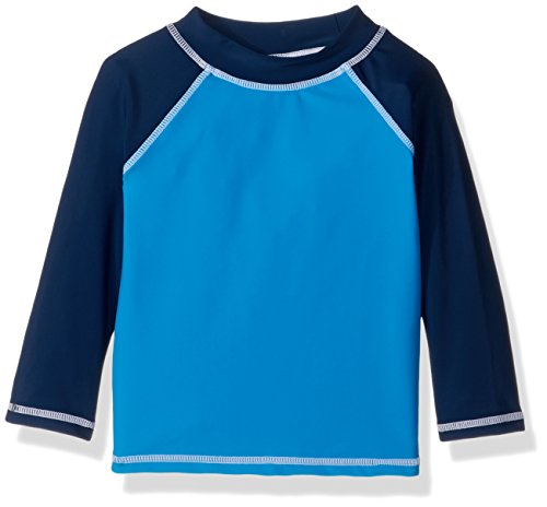 Flap Happy Little Boys' UPF 50+ Colorblock Rash Guard/Swim Top, Surfside, 4