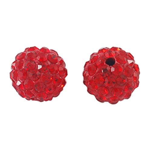 PH PandaHall About 100 Pcs 12mm Clay Pave Disco Ball Czech Crystal Rhinestone Shamballa Beads Charm Round Spacer Bead for Jewelry Making Red