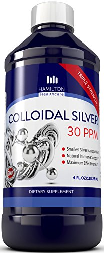 Colloidal Silver 30ppm - Ultra Pure Colloidal Silver With Smallest Silver Nanoparticles For Natural Immune Support - Vegan & Gluten Free - By Hamilton Healthcare
