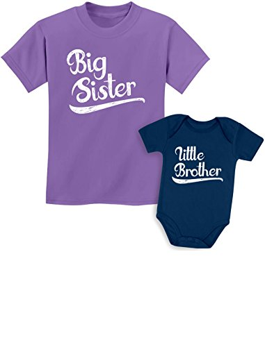 Sibling Shirts Set for Sisters and Brothers Girls & Boys Gift Set Girls Shirt Lavender/Baby Navy Kids Shirt 3T / Baby Newborn