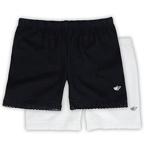 Lucky & Me Leah Girls Shorts Underwear, 2-Pack Underpants for Skirts, Uniforms, Dresses, 9/10 Black/White