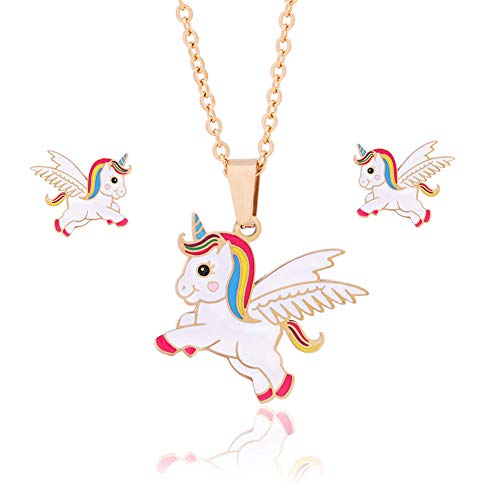 4MEMORYS Rainbow Unicorn Jewelry Set Including Pendant Necklace, Earrings, with Cute Enamel Gold Plated Women Girls Unicorn Gift Set (Necklace and Earrings)