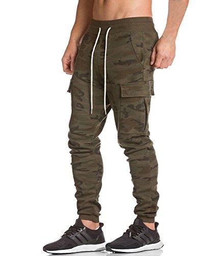 Men's Cargo Jogger Pants Workout Sweatpants Casual Trousers (Camo Cargo Sweatpants)