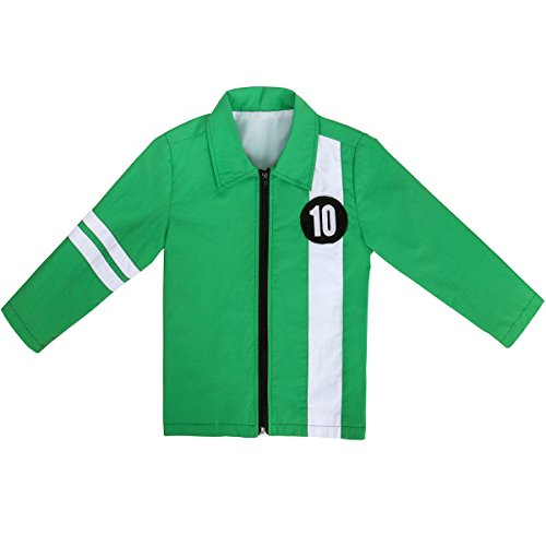 Ben Ten Costume (WeixinyuanST Ben Green Jacket Aliens Force Kids Boys Benjamin Irby Tennyson Halloween Cosplay Costume Fancy Dress Shirt)