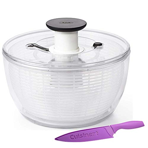 (OXO Good Grip 5 Quart Salad Spinner (Clear) With Cuisinart Chef Knife (8