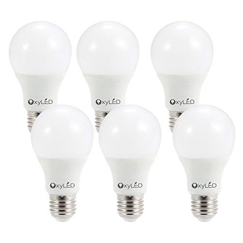 OxyLED OxyBulb 9W 810lumen Equivalent 3000K A19 LED Light Bulbs with E26 Base, Soft White Light(6 Pack) by OxyLED